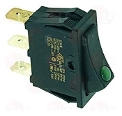 90008 - On-Off function lighted Green rocker switch 11x30 mm